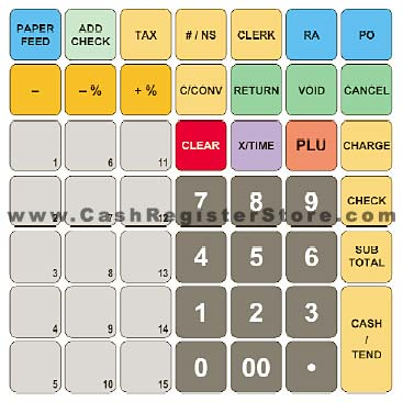 cash register keyboard template - sam4s er 285m cash register