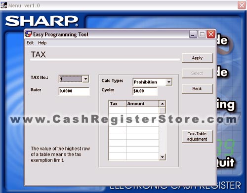 Sharp XE-A206 Software Screenshot