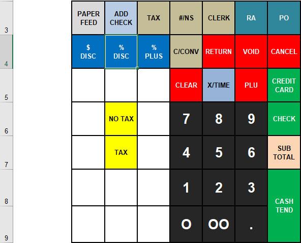 Cashregister Sam4s Er 265 Keyboard Template For